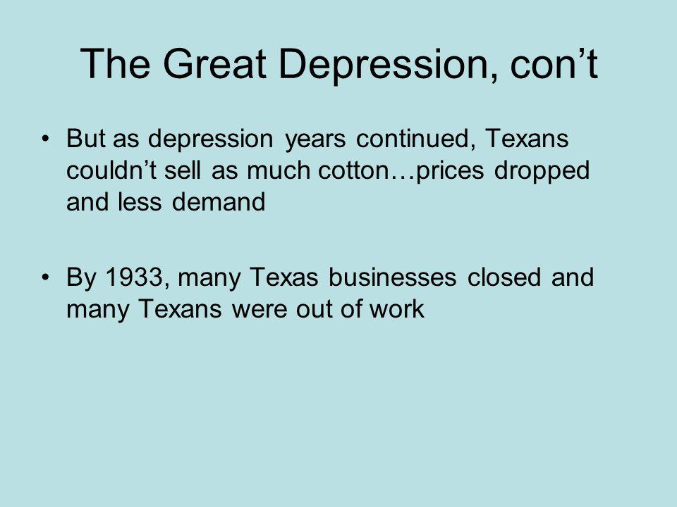 The Great Depression, con't