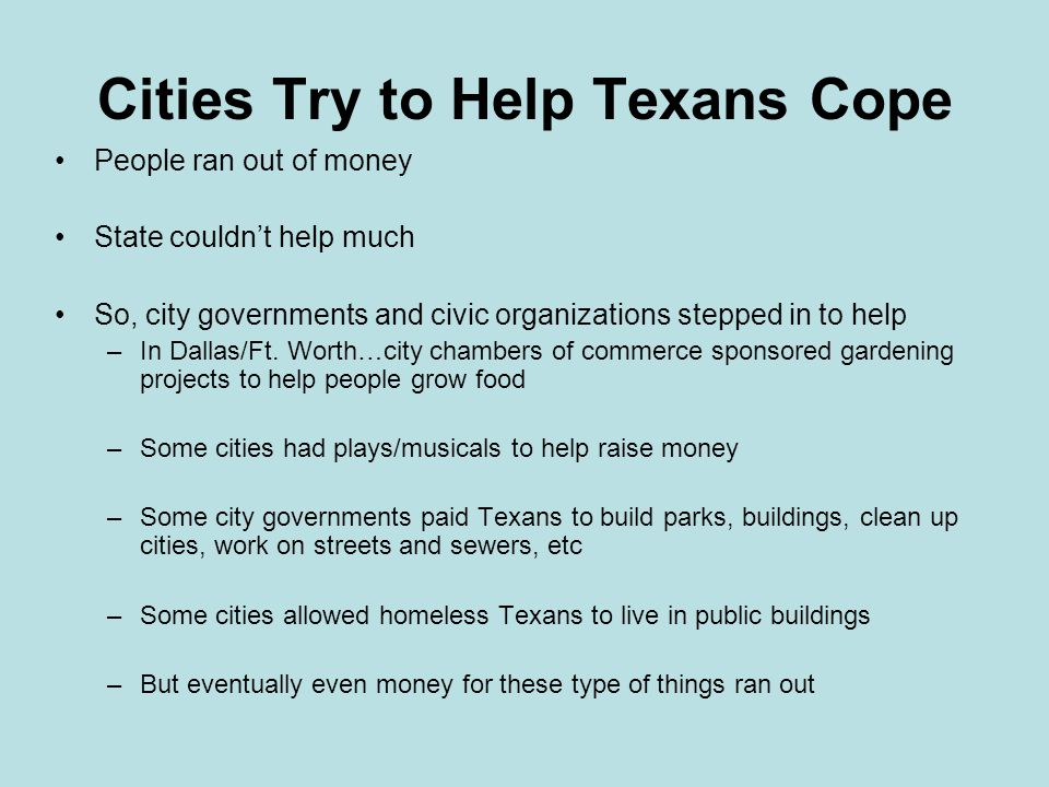 Cities Try to Help Texans Cope