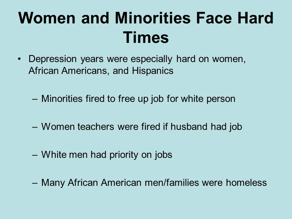 Women and Minorities Face Hard Times
