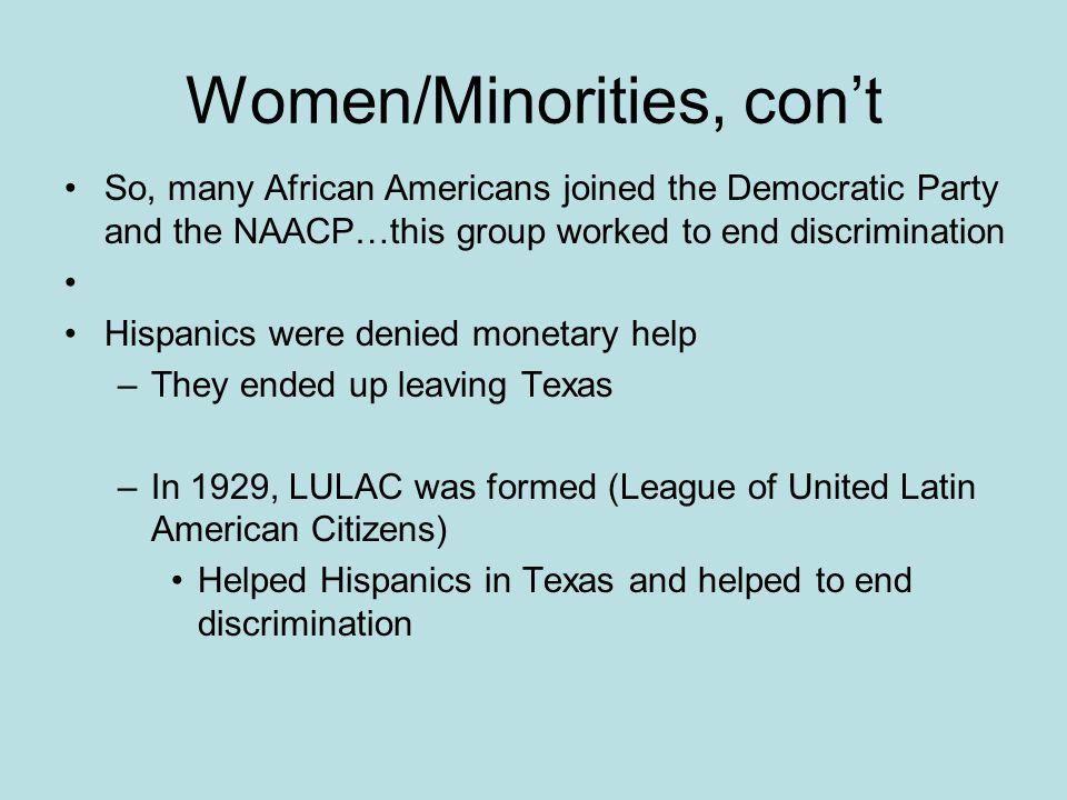 Women/Minorities, con't