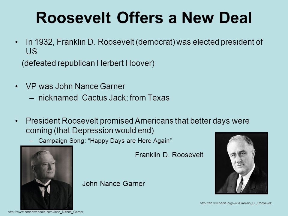 Roosevelt Offers a New Deal