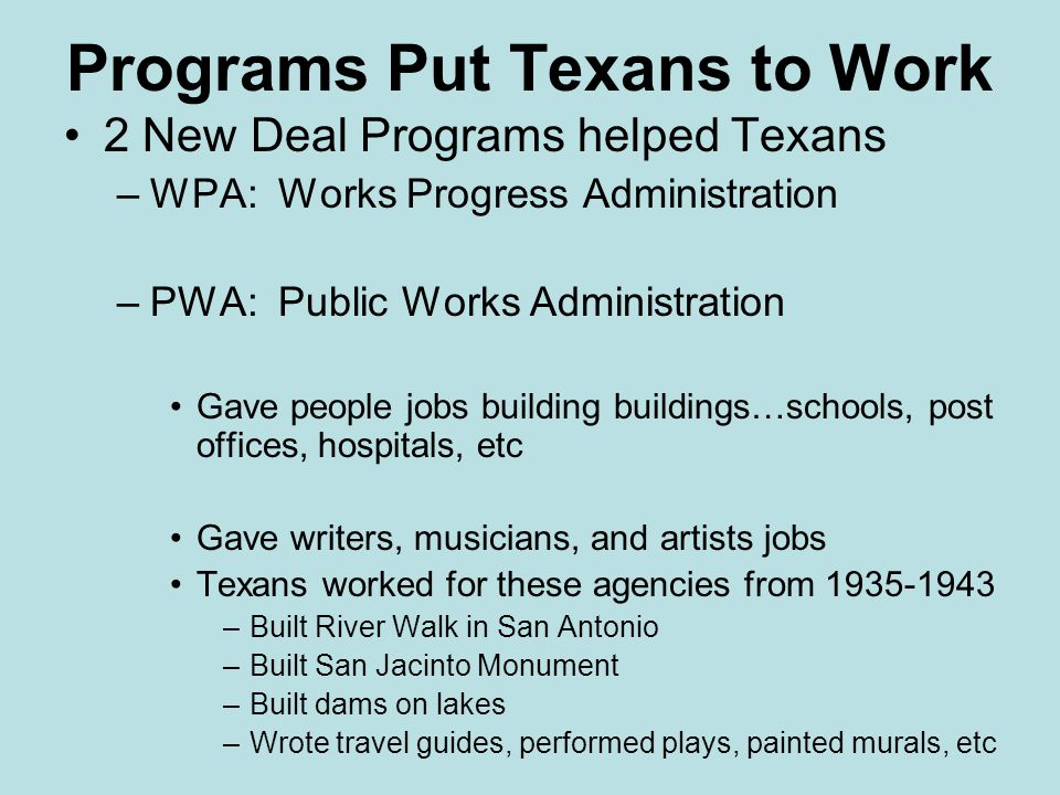 Programs Put Texans to Work