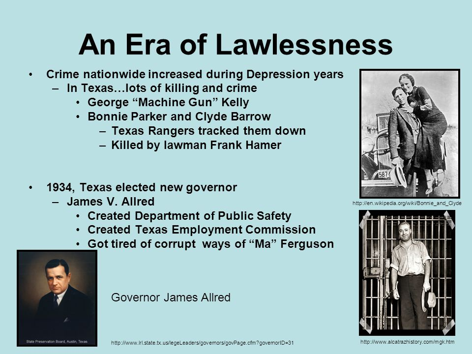 An Era of Lawlessness Crime nationwide increased during Depression years. In Texas…lots of killing and crime.