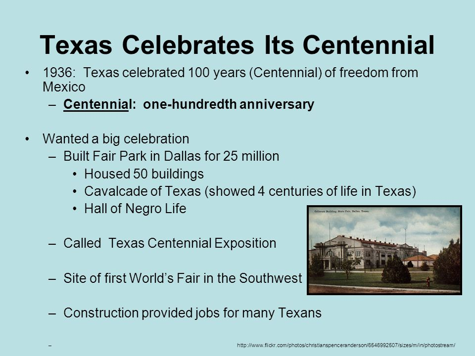 Texas Celebrates Its Centennial