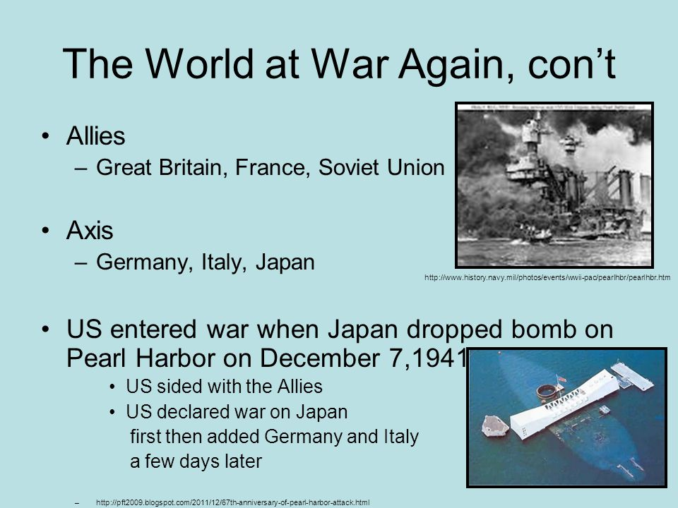 The World at War Again, con't