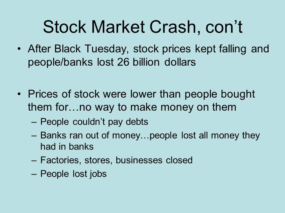 Stock Market Crash, con't