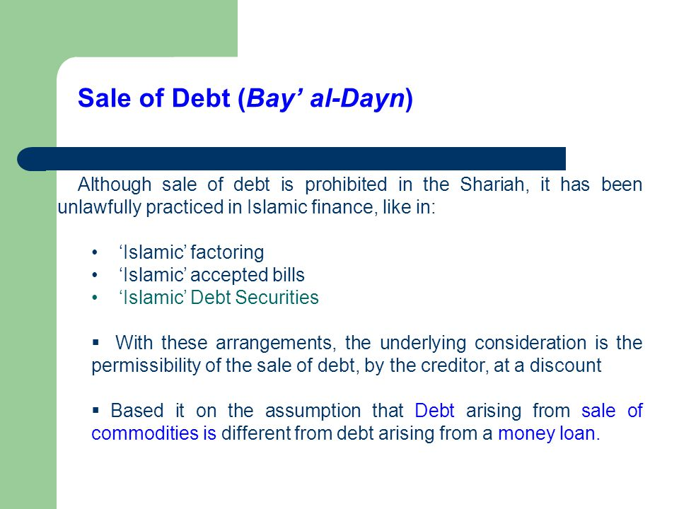 Sale of Debt (Bay' al-Dayn)