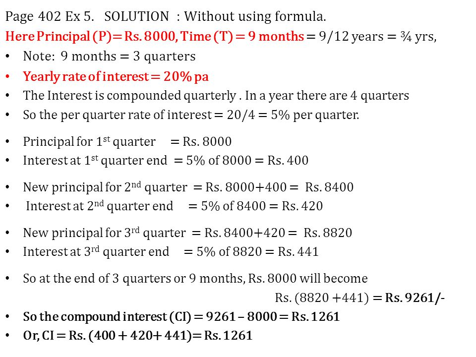 Page 402 Ex 5. SOLUTION : Without using formula.