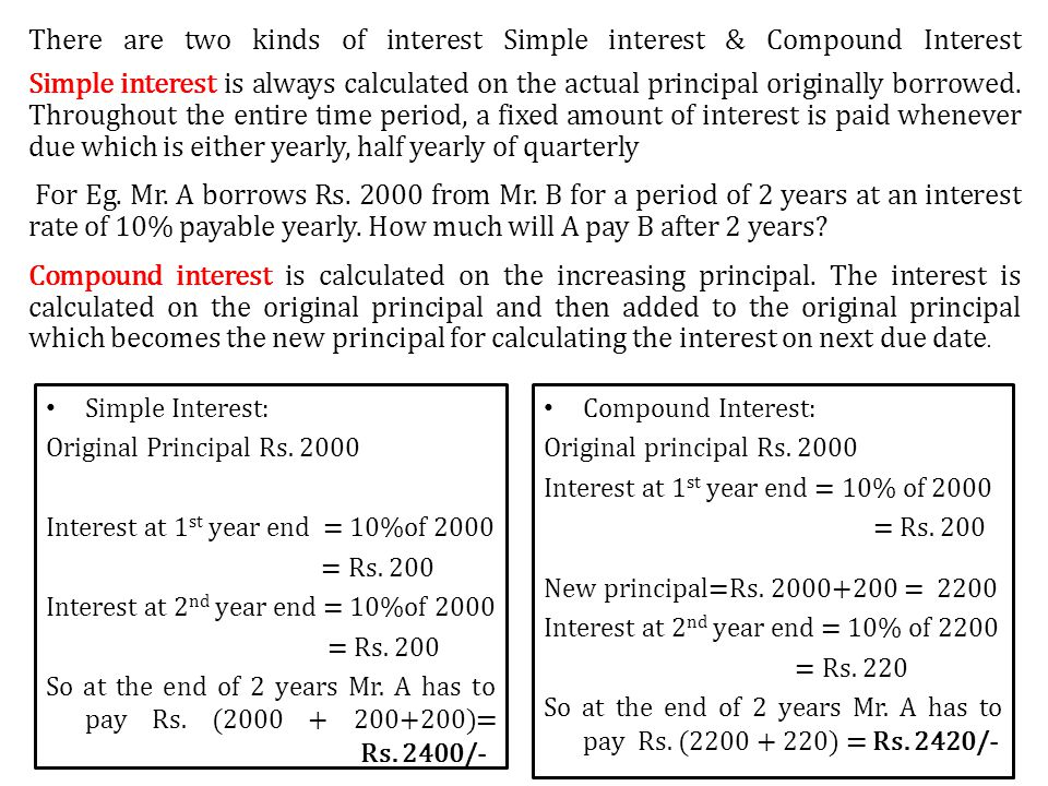 There are two kinds of interest Simple interest & Compound Interest Simple interest is always calculated on the actual principal originally borrowed. Throughout the entire time period, a fixed amount of interest is paid whenever due which is either yearly, half yearly of quarterly