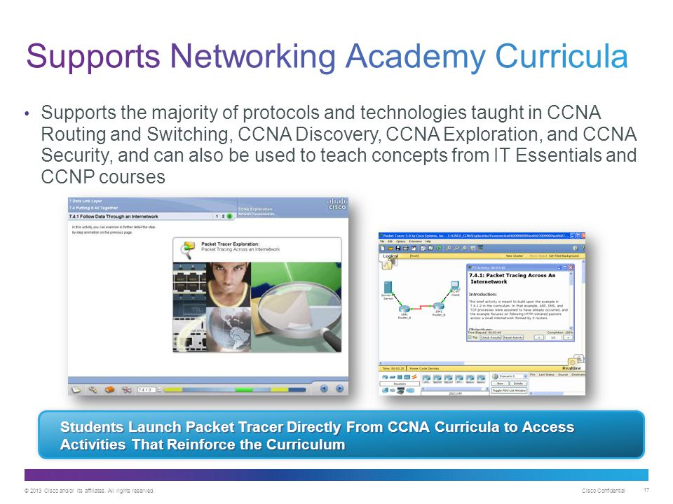 Supports Networking Academy Curricula