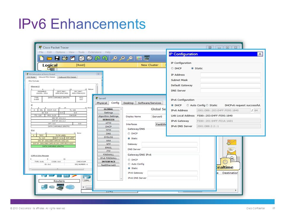 IPv6 Enhancements Packet Tracer 6.0 is a major release that includes new and enhanced functionality.