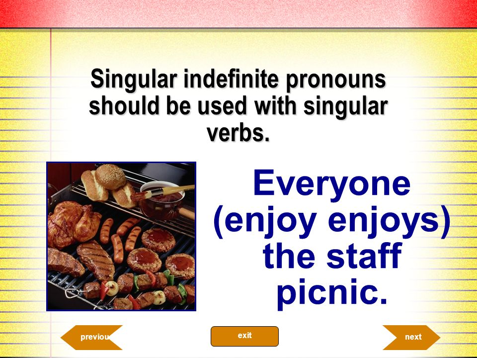 Singular indefinite pronouns should be used with singular verbs.