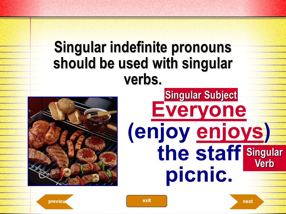 Everyone (enjoy enjoys) the staff picnic.