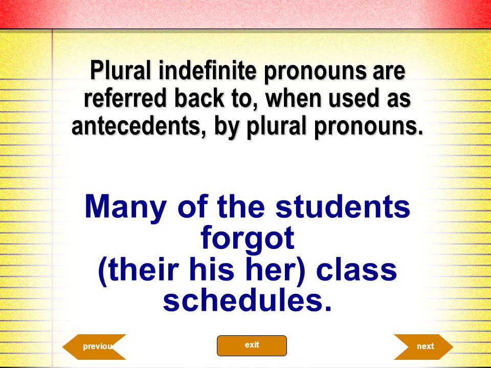 Many of the students forgot (their his her) class schedules.