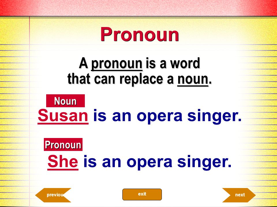 A pronoun is a word that can replace a noun. Susan is an opera singer.