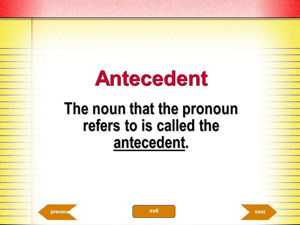 The noun that the pronoun refers to is called the antecedent.