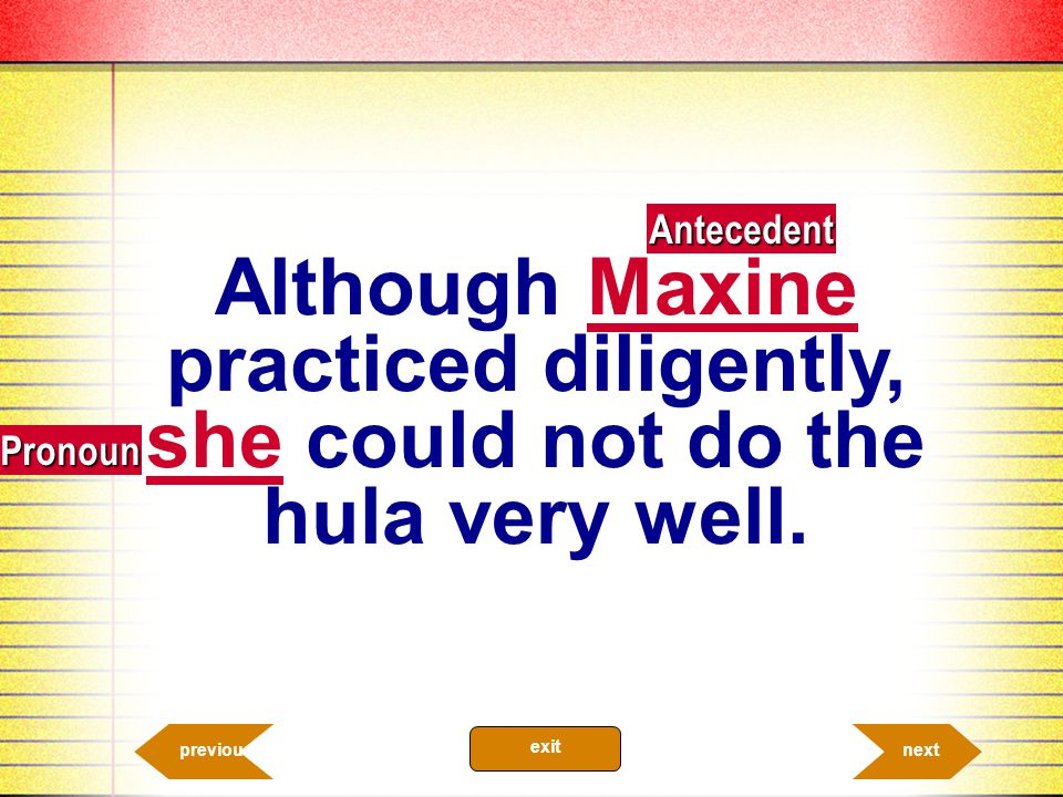 Antecedent Although Maxine practiced diligently, she could not do the hula very well. Pronoun. previous.