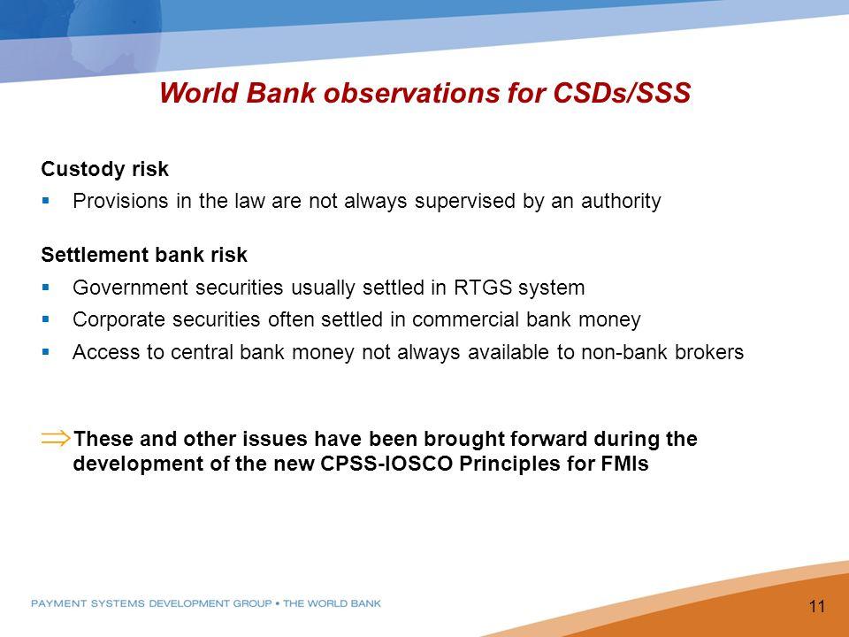 World Bank observations for CSDs/SSS
