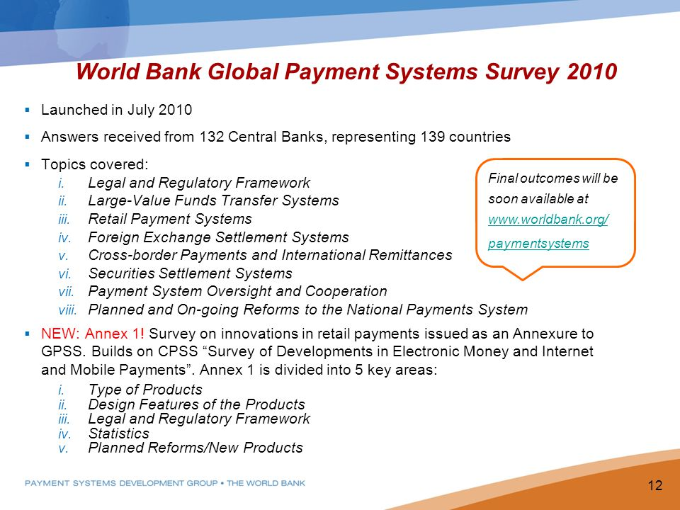 World Bank Global Payment Systems Survey 2010