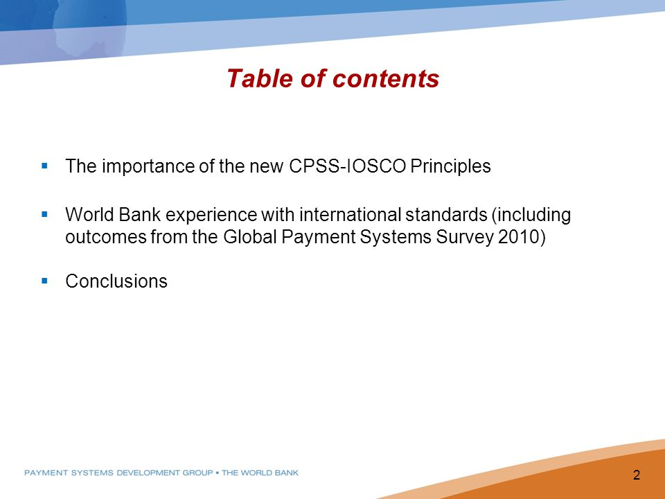 Table of contents The importance of the new CPSS-IOSCO Principles