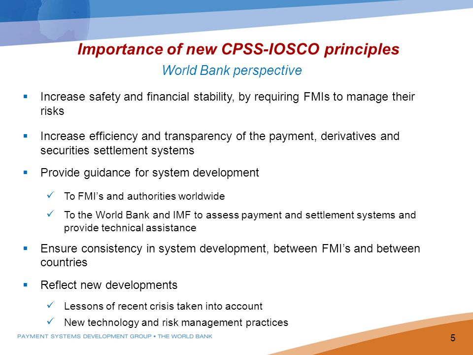 Importance of new CPSS-IOSCO principles