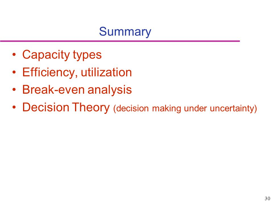 Summary Capacity types. Efficiency, utilization.
