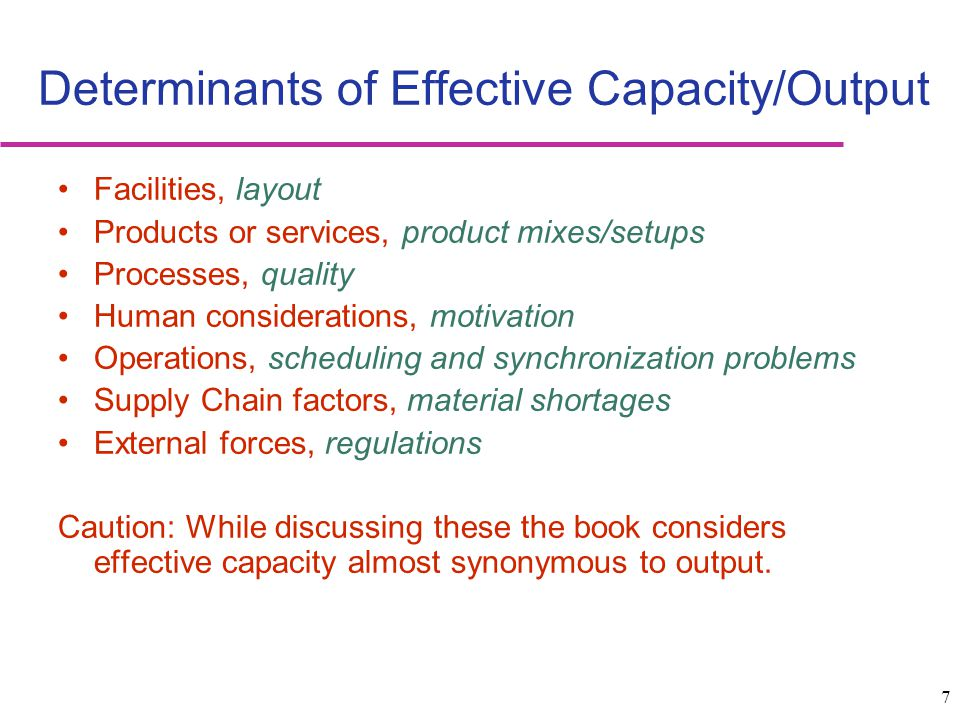 Determinants of Effective Capacity/Output