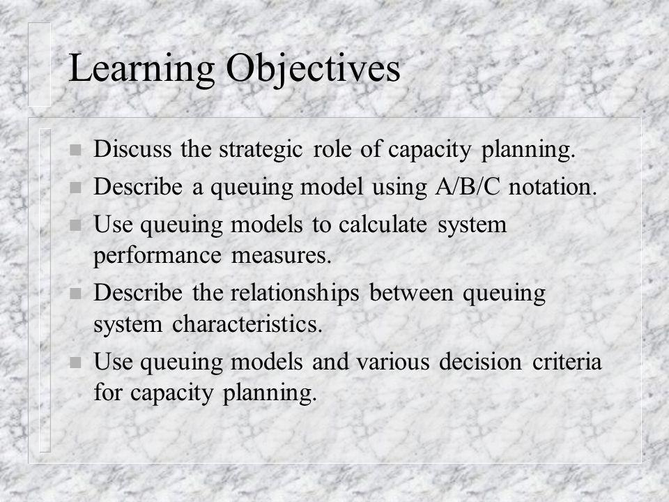 Learning Objectives Discuss the strategic role of capacity planning.