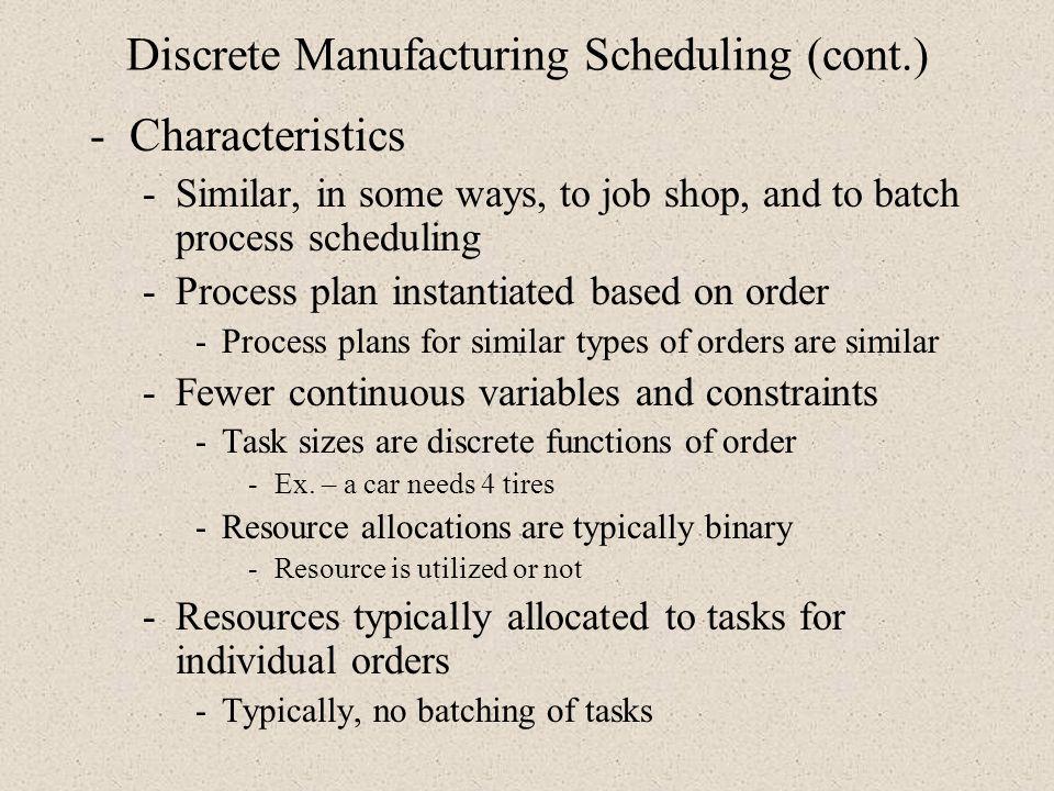 Discrete Manufacturing Scheduling (cont.)
