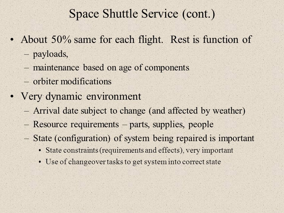 Space Shuttle Service (cont.)