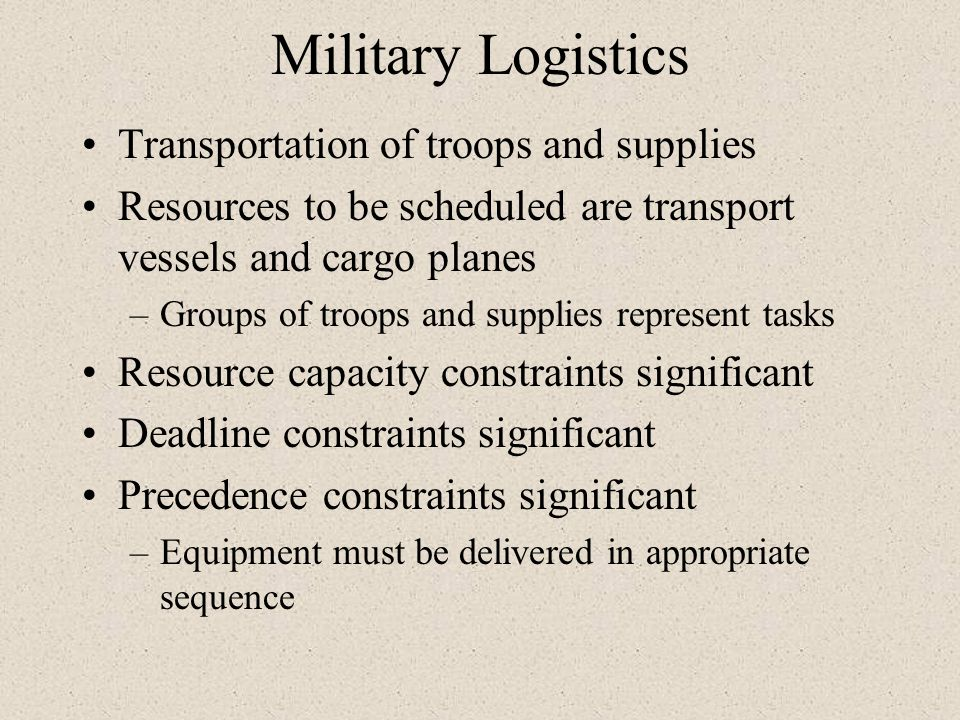 Military Logistics Transportation of troops and supplies