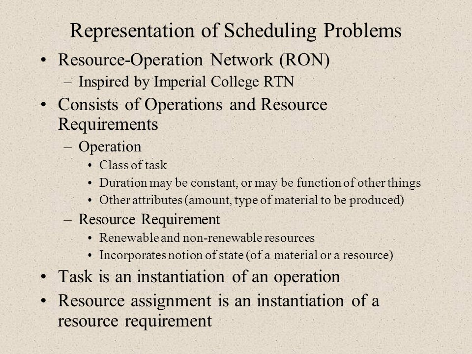 Representation of Scheduling Problems
