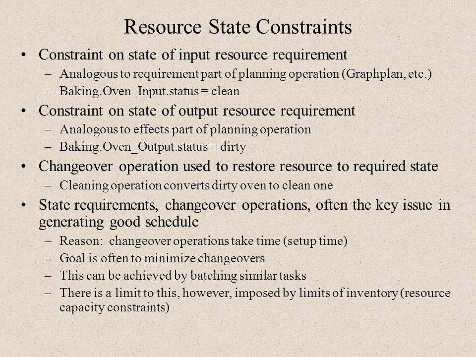 Resource State Constraints