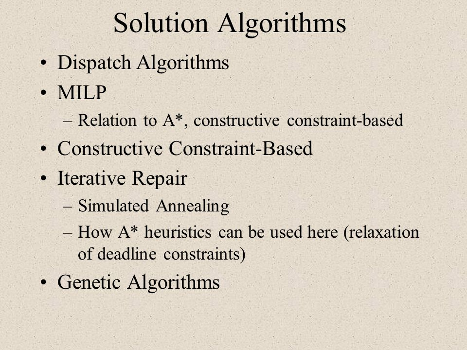 Solution Algorithms Dispatch Algorithms MILP