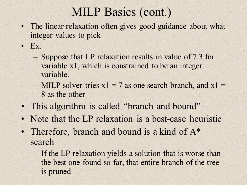 MILP Basics (cont.) This algorithm is called branch and bound