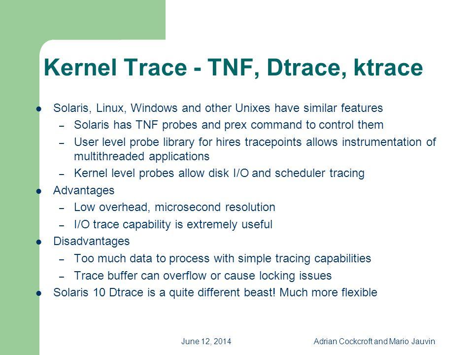 Kernel Trace - TNF, Dtrace, ktrace