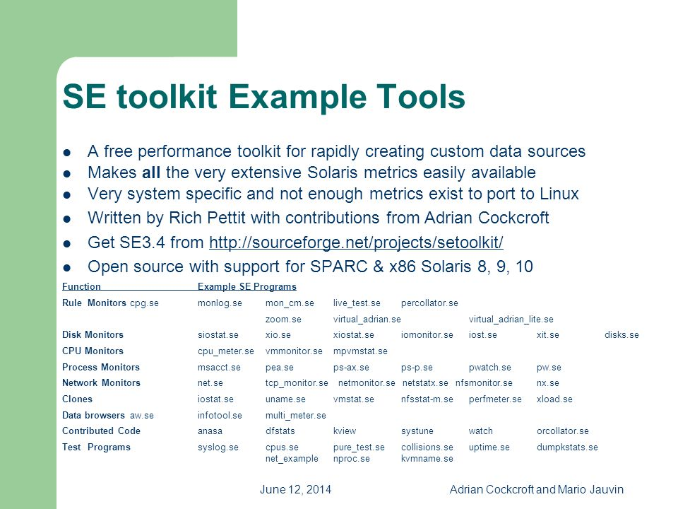 SE toolkit Example Tools