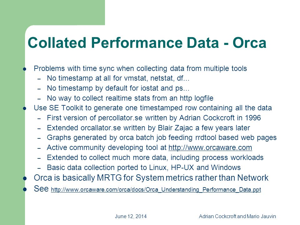 Collated Performance Data - Orca