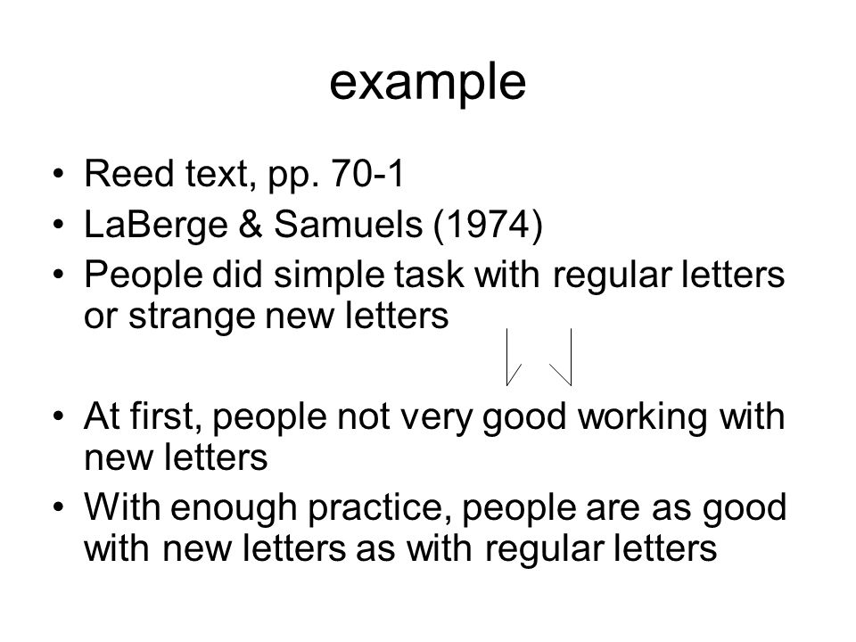 example Reed text, pp. 70-1 LaBerge & Samuels (1974)