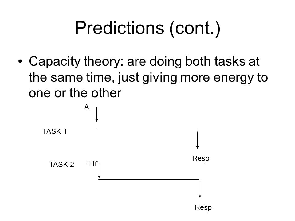 Predictions (cont.) Capacity theory: are doing both tasks at the same time, just giving more energy to one or the other.