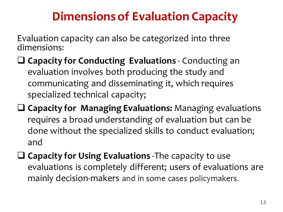 Dimensions of Evaluation Capacity