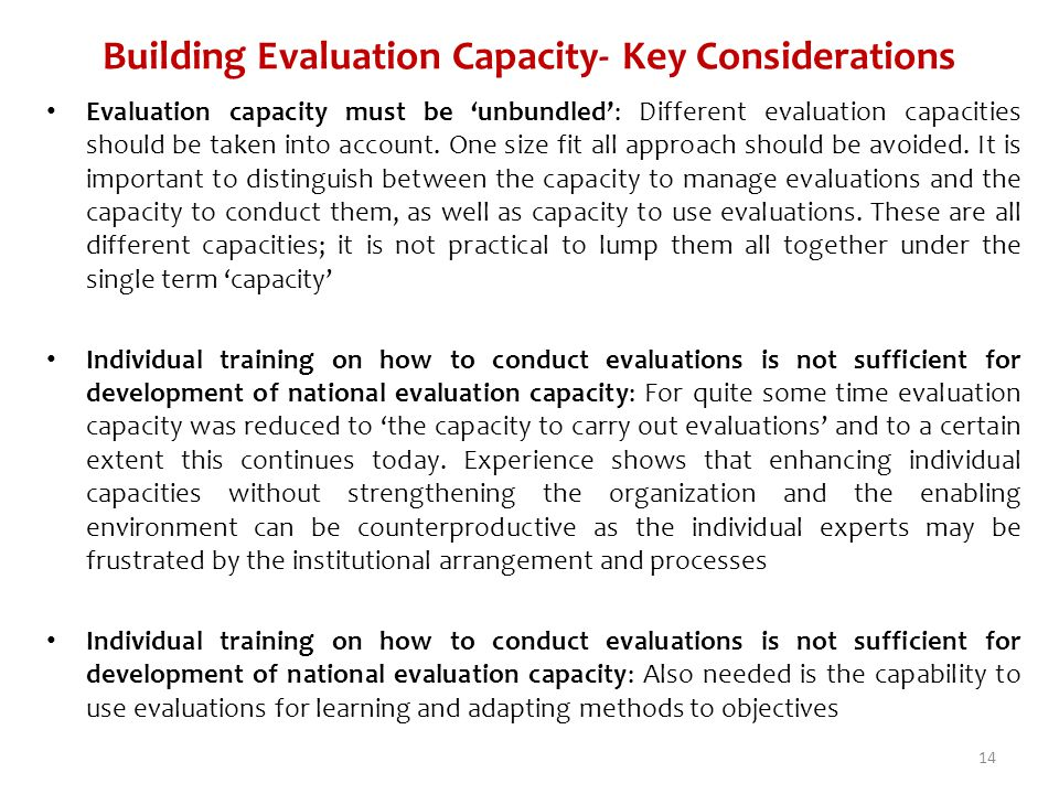 Building Evaluation Capacity- Key Considerations