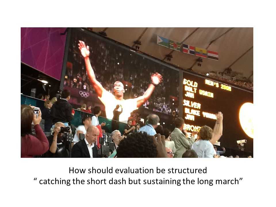 How should evaluation be structured catching the short dash but sustaining the long march