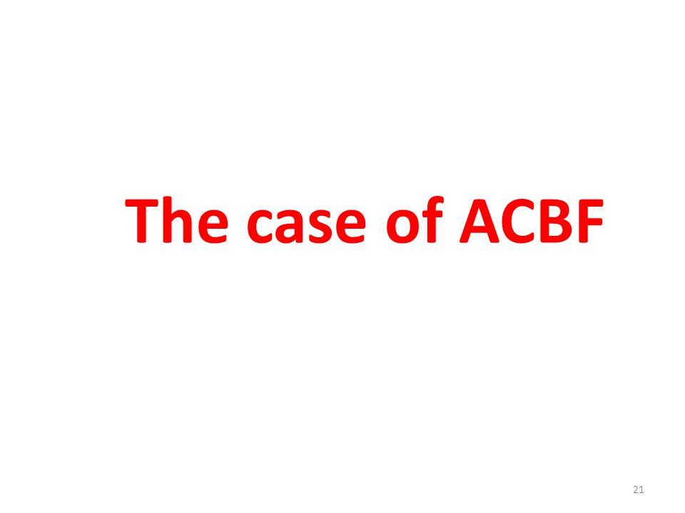 The case of ACBF