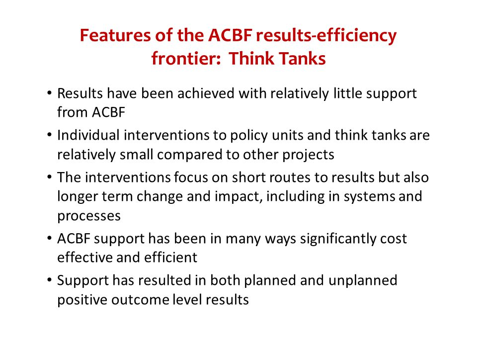 Features of the ACBF results-efficiency frontier: Think Tanks