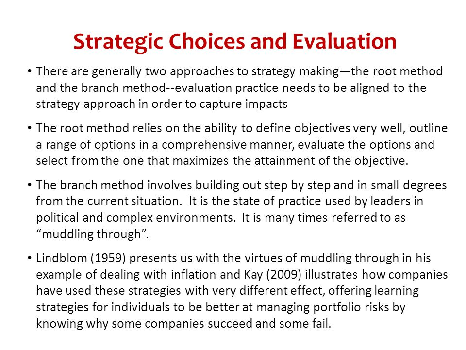 Strategic Choices and Evaluation