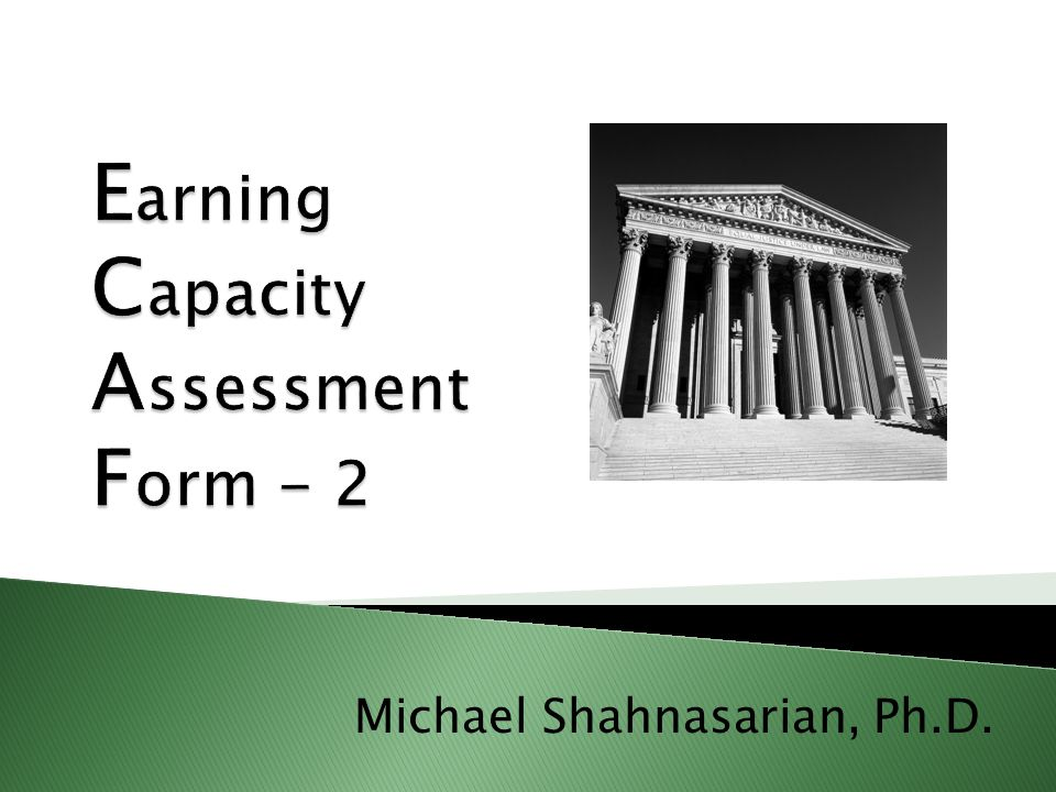 Earning Capacity Assessment Form - 2