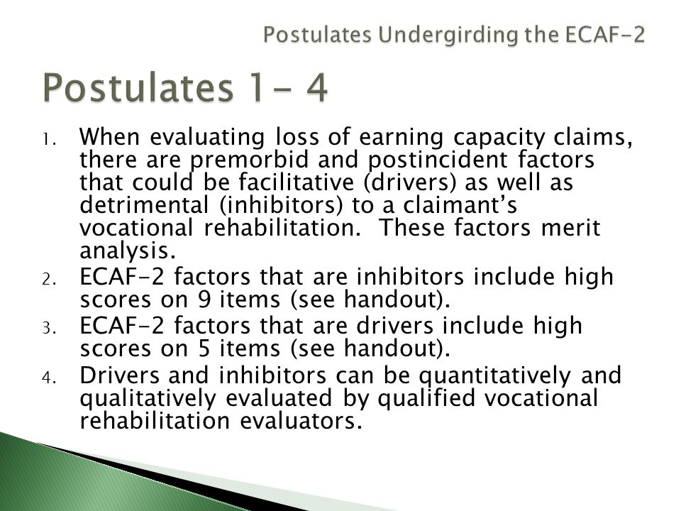 Postulates Undergirding the ECAF-2