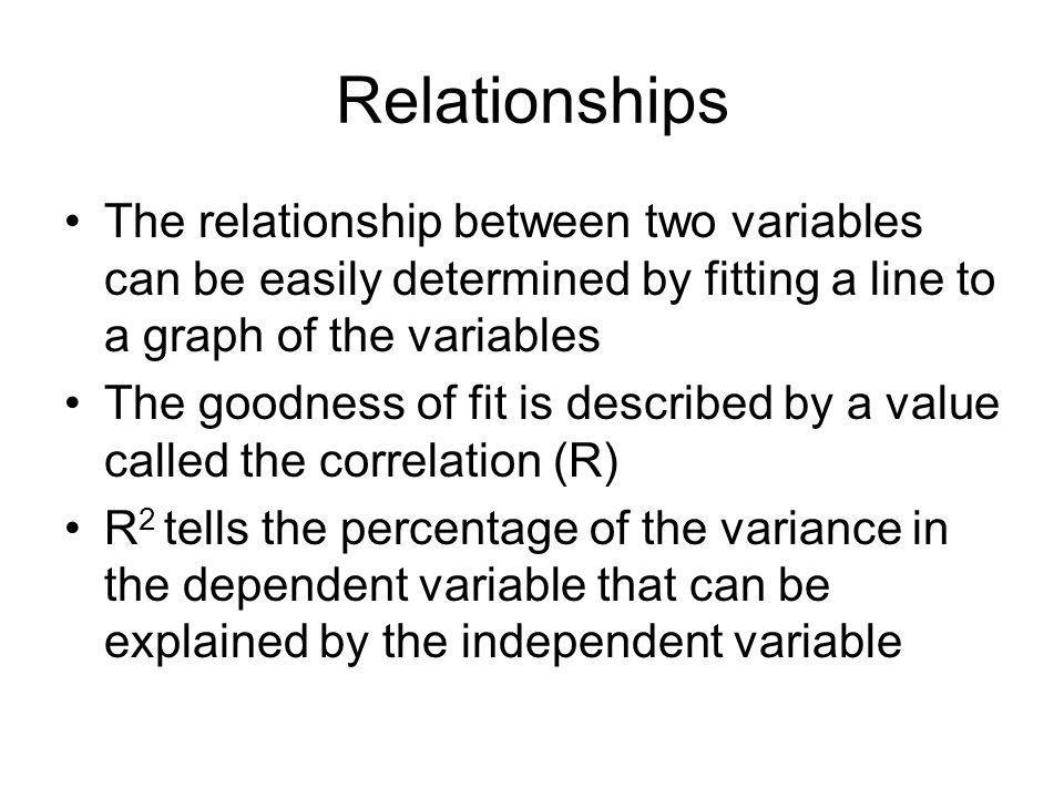 Relationships The relationship between two variables can be easily determined by fitting a line to a graph of the variables.
