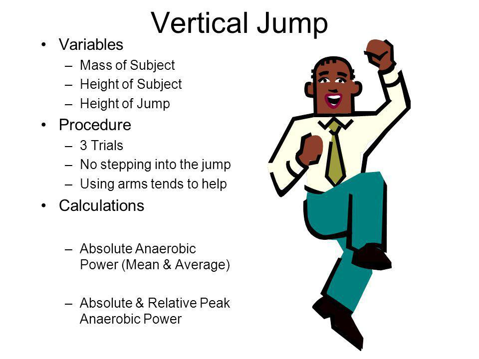 Vertical Jump Variables Procedure Calculations Mass of Subject